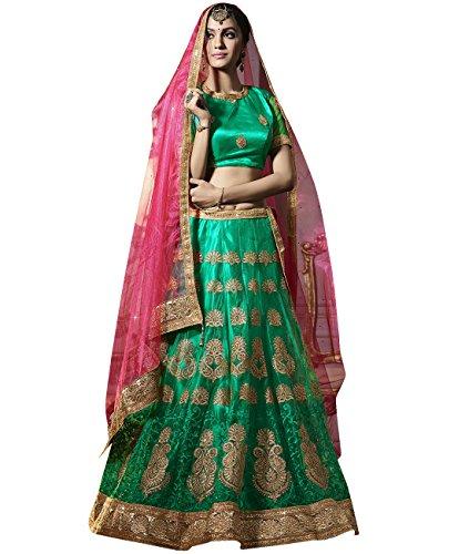 Indian Ethnicwear Bollywood Pakistani Wedding Green A-Line Lehenga Semi-stitched-ROYK27124