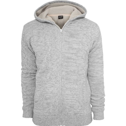 Urban Classics TB408 Winter Knit Zip Hoody Felpa Cappuccio Uomo Regular Fit (White/Grey, XXL)