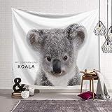 Morbuy Série Animale Tapisserie Murales Hippie Décoration Tenture Couverture Pique-Nique Polyester Nappe Serviette de Plage Yoga Indienne Tapestry (Petit (130 x 150cm), Koala)