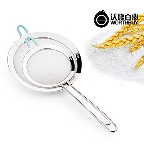 Black : 1 Pcs 304 Stainless Steel Mesh Strainers Colander Kitchen Accessories Solid Long Handle Vegetables Flour Sieve Kitchen Strainer