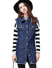9d83ce55507a Dooxi Damen Vintage Revers Ärmellos Jeansjacke Herbst und Winter Lang Mantel  Beiläufige Denim Jacken Vest
