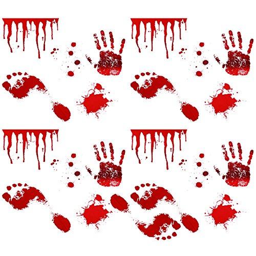 COM-FOUR ® 21pezzi Set di adesivi da parete & pavimento adesivo da parete, horror & Splatter 'bagno di sangue'