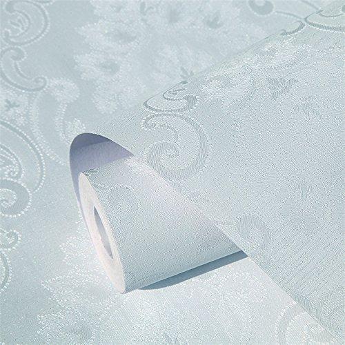 ZCHENG Aufkleber Küche Oberfläche Wasser und Öl Selbstklebende Tapete Wohnzimmer 10 m eine Rolle von 45 cm Breite Wall-Quarters Zinn, Silber Plain Blue Damaskus 10 Meter, groß 801553 Plain Zinn