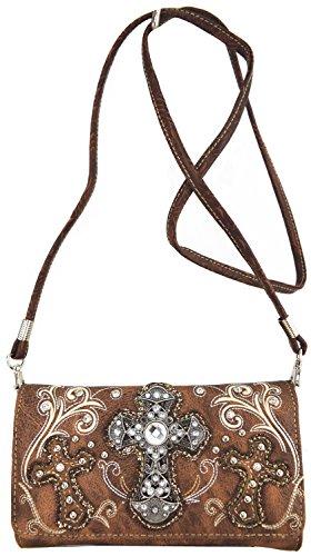 Blancho Biancheria da letto delle donne [modello classico] borsetta di pelle PU Moda Elegante Borsa Brown Combo-Marrone