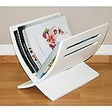Porte revue en bois rangement magazines blanc 30x29x36 cm DIV06001