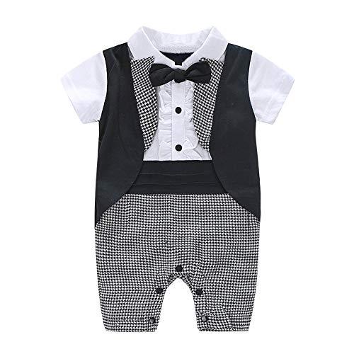 Beikoard Kinder Kleidung Promper Baby Jungen Baumwolle Casual Outfits Bowtie Plaid Schwalbenschwanz Overall Kurzarm Outfit Gentleman Junge Anzüge 6-24M