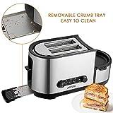 Aicok Toaster, 3 in 1 praktischer Automatik Toaster mit Eierkocher und elektrischee Pfannen, (1250 Watt, bis zu 7 Bräunungsstufen und 2 Brotscheiben, gebürsteter Edelstahl) - 5