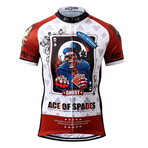 Thriller Rider Sports® Mens Ace of Spades Outdoor Sports Mountain Bike Short Sleeve Cycling Jersey