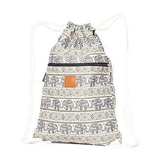 T-BAGS Thailand Baumwoll Turnbeutel Hipster - mit Reißverschluss - 24 Designs - Hochwertiger Beutel, Rucksack, Gym-Bag mit verstellbaren Kordeln (Elefant Dunkelblau)