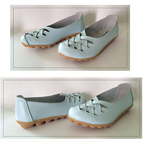 Oriskey Damen Mokassin Bootsschuhe Leder Loafers Schuhe Flache Fahren Halbschuhe Slippers Himmelblau