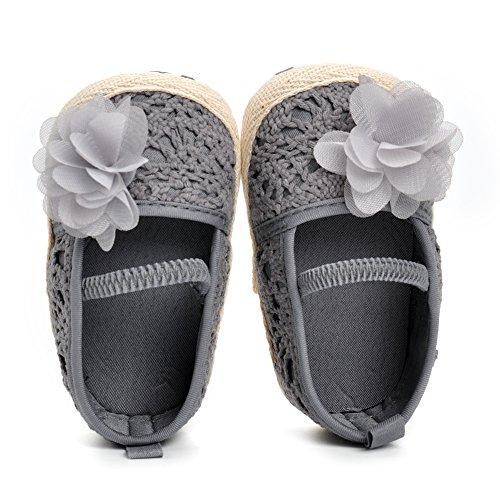 Estamico Baby Mädchen Blumen Lauflernschuhe Sommer Weiche Sohle Sandalen Grau