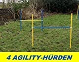 4 X AGILITY-ÜBUNGS-HÜRDEN-SET IN BLAU/GELB