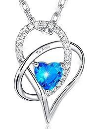 MARENJA-Regalo San Valentín Collar Mujer de Moda-Colgante Cristal Azul de Corte Corazón Grabado Te Amo-Joya Chapada en Oro Blanco