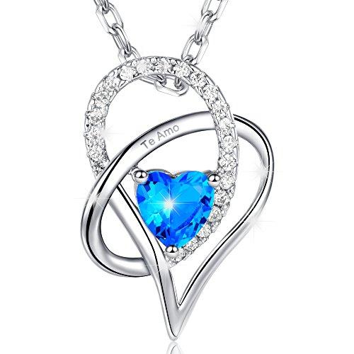 MARENJA-Regalos Navidad Collar Mujer de Moda-Colgante Cristal Azul de Corte Corazón Grabado Te Amo-Joya Chapada en Oro Blanco