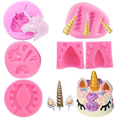 SIMUER Einhorn Fondant Schokoladenform Set Kuchen Topper Dekorieren Silikon Form mit Horn, Ohren und Augen für Geburtstag, Baby Dusche, Hochzeit und Party (6PCS/Set)