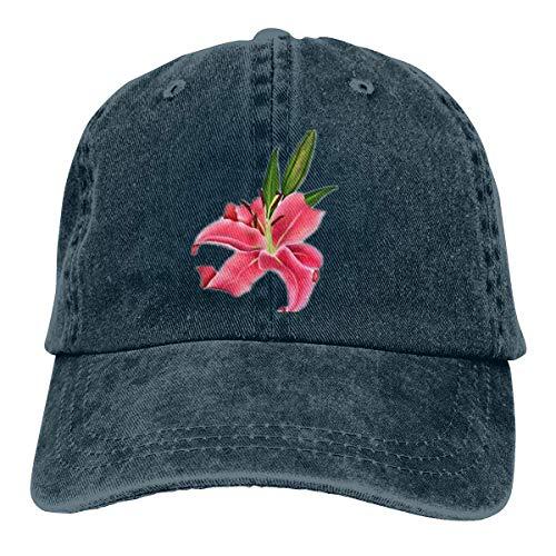 wwoman Unisex Erwachsene Vintage Washed Baseball Cap verstellbare Papa Hut - eine Blume schwarz -