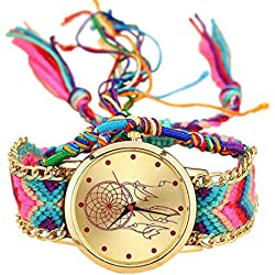 Handmade Braided Dreamcatcher Friendship Bracelet Watch Rope GENEVA Watch Ladies Quarzt Watches relogio feminino (1)