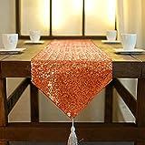 Camino de mesa ShinyBeauty de lino con lentejuelas brillantes, color rosa, 30 x 180cm, con borlas, para mesas de fiesta, boda, banquete o decoración, Naranja, 30x180cm