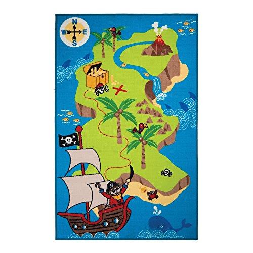 Rugs With Flair Matrix Kiddy - Tapis de Jeu/Tapis d'éveil - Carte de Pirate - Chambre Enfant - Bleu 100 x 160cm