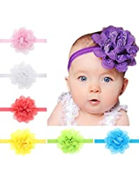 Freessom Lot de 10pcs Bébé Filles Bandeau Cheveux Fleur Lace Dentelle  Mignon Elastique Bande de Cheveux Serre… 58bdb4e85d5