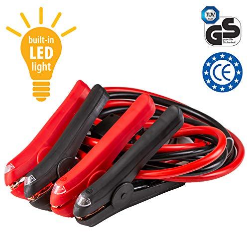Hochleistungskupfer-Starthilfekabel mit integriertem LED-Licht, Starterkabel, vollisolierte Klammer; für Benzin- und Diesel-PKW und LKW, 3 m lang, ausgelegt für bis zu 400 A (mit Reißverschlusstasche)
