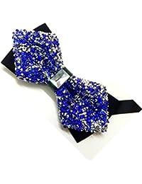 Classique Men's Fashion Sparkling Crystal Rhinestone Studied Tuxedo Bow tie Wedding Parties Reception Prom valantine Bow tie Blue Royal Blue Dark Blue