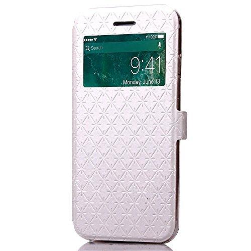 Wkae Case Cover iPhone 7 plus de cas, en cuir PU Fenêtre Case Grille Lattice Motif stand Case Cover avec emplacement de carte pour Apple iPhone7 plus by DIEBELLEU ( Color : Purple , Size : Iphone 7 Pl White