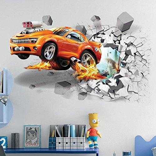 3D Flying Fire Car Gebrochene Wand Design Selbstklebende Abnehmbare Pause Durch Die Wand Vinyl Wand Aufkleber Wandbilder Decals