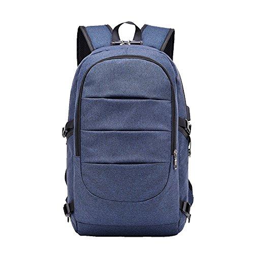 Preisvergleich Produktbild matmo Business-Laptop-Rucksack mit USB-Ladeanschluss, Kopfhörer- und-, Laptop-Tasche, für Notebook, 39,6cm (15,6Zoll) mit Diebstahlsicherung scool aus blau