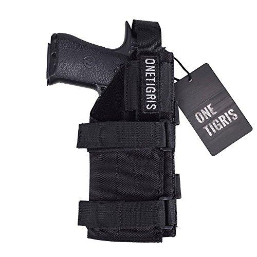 OneTigris 1000D Nylon Taktische Molle Pistolenholster Gürtelholster für Pistolen (Schwarz ohne Magazintasche) -