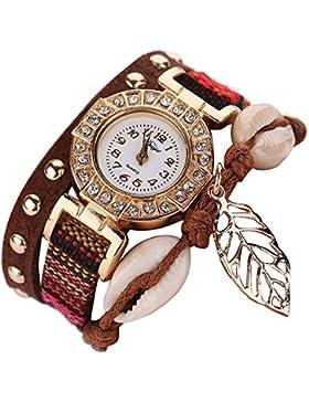 Sunnywill Frauen Mädchen Damen Schöne Mode Design Edelstahl PU Leder Geflochten Quarz Armbanduhr Uhr für Weibliche