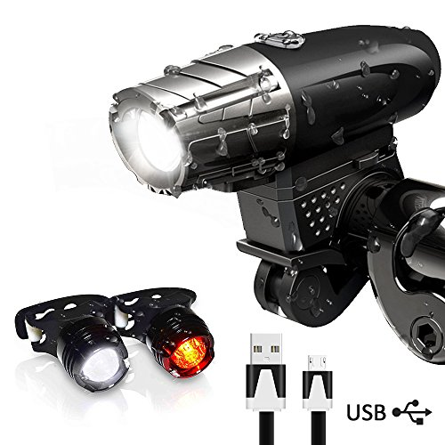 iToncs LED Fahrradlicht Set USB Wiederaufladbare Wasserdichte LED Fahrradbeleuchtung Set LED Fahrradlampe Set Frontlichter 4 Licht-Modi und Rücklicht*2