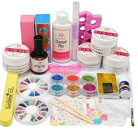 Coscelia Nail Art Décor Kit Gel Poudre Acrylique UV Top Coat Cleanser Plus Faux Ongles Manucure