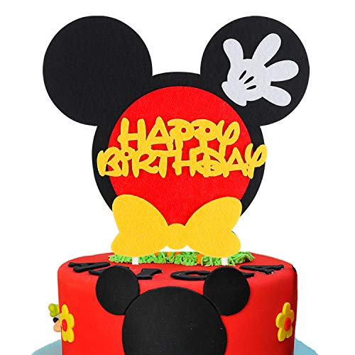 BEYUMI Mickey Maus Inspired Birthday Cake Topper für jedes Alter, Party Cake Dekoration Supplies