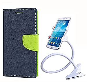 Aart Fancy Diary Card Wallet Flip Case Back Cover For Redmi 1s - (Blue) + 360 Rotating Bed Tablet Moblie Phone Holder Universal Car Holder Stand Lazy Bed Desktop for by Aart store.