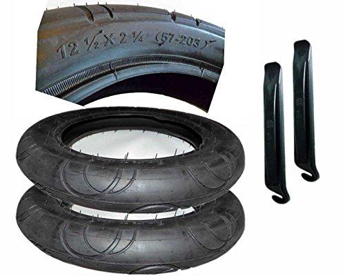 2 Stück Reifen Mantel 12 1/2 x 2 1/4 Zoll DIN 57- 203 mit Montagehebel