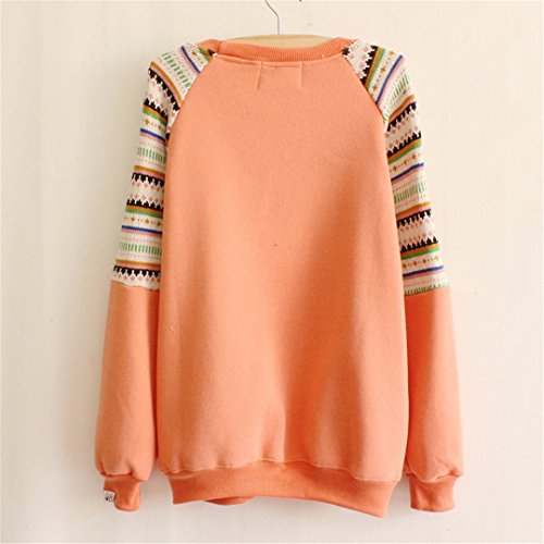 Luna et Margarita - Sweat femme imprimé avec détail en tricot pull en molleton taille unique épaule en tricot orange