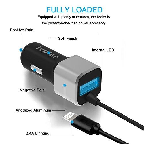 iVoler Caricabatteria Rapido da Auto 24W/4.8A 2 Porte USB - Caricatore USB Universale con un elicoidale USB cavo lightning (1.5m) per iPhone X/ 8/ 8 Plus/ 7/ 7 Plus/ 6s/ 6/ 5s/ 5/SE, iPad Air,iPad Min Nero / Argento