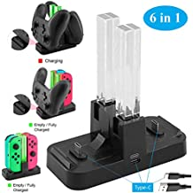 Whiteoak Switch Pro Controller Dual Cargador, 6 in 1 for Nintendo Switch Joy-Con Charging Dock Station Stand with LED Indicator, [Versión de actualización] con cable de tipo C gratuito