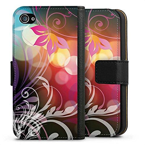Apple iPhone X Silikon Hülle Case Schutzhülle Blumen Bunt Floral Sideflip Tasche schwarz