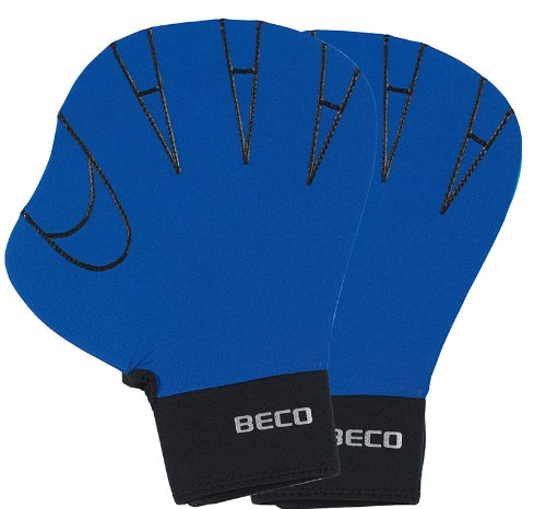 BECO Neporen Schwimmhandschuhe Neporen Handschuhe Aqua Training Gloves L blau