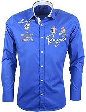 Langarm Freizeithemd - saxblau