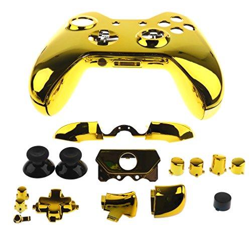 Sharplace Ersatz Joystick- Knöpfe Tasten Set mit Controller Schutzhülle Gehäuse Schutz Fall für XBox One Elite Spielcontroller Videospiel Zubehör Set - Gold (Gold Xbox Shell)