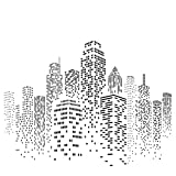 Skyscraper Pochoir–réutilisable Cityscape Skyline Ville bâtiments mural Pochoir–Utilisation sur papier projets Journal de scrapbooking murs Sol Tissu meubles en verre Bois etc. M