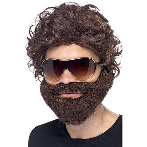 GA Perücke mit Bart und Sonnenbrille Brauner Vollbart mit Haaren Stag Do Barthaare mit Haaraufsatz Junggesellenabschied Zubehör ()