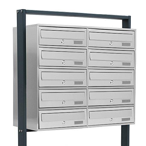 BITUXX® Design Edelstahl Doppel Stand-Briefkastenanlage Postkasten Letterbox Mailbox mit 10 Fächer und Dunkelgrauen Standrohren