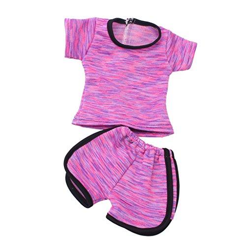 Gazechimp 2 Pièces Vêtement de Sport Tops Pantalons en Tissu Accessoires Pour 18