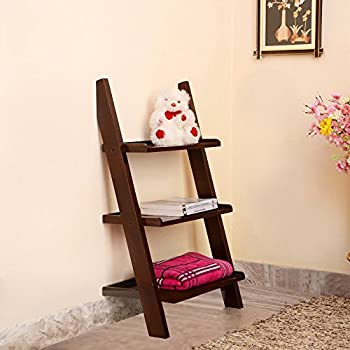 custom decor solid wood ladder leaning bookcase shelf 3 tier