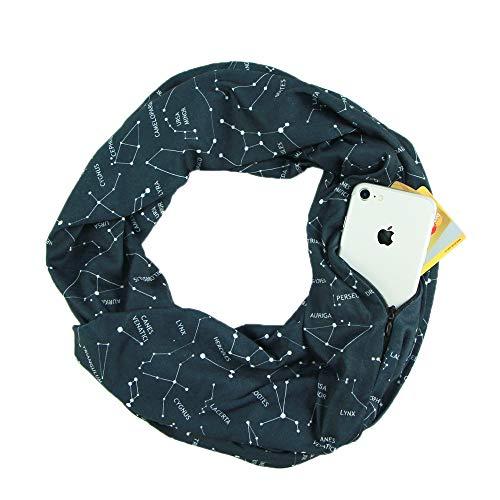 Hethrone Infinity Scarf with Hidden Zipper Pocket Lightweight Solid Color Scraf for Unisex ... (Schwarzer Sternenhimmel) - Infinity Jersey