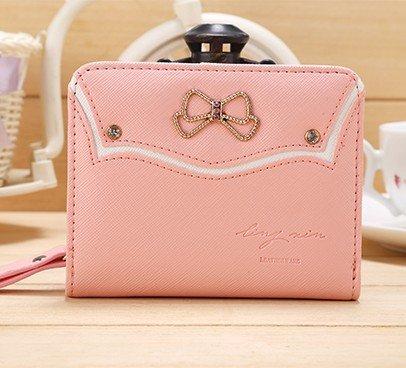 Hrph Style Coréenne Mini Bourse Court Pochette Porte-Monnaie Femme Bow Diamant Zipper Cute Porte-Carte Couleur Bonbons Wallet Purse Mignon Coin Rose
